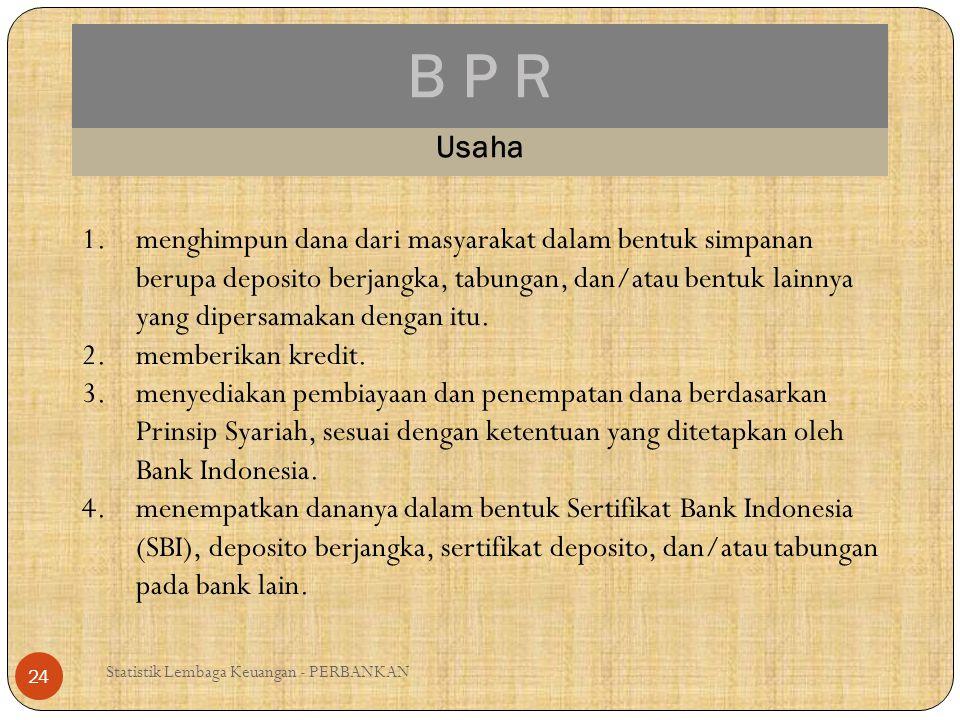 B P R Statistik Lembaga Keuangan - PERBANKAN 24 Usaha 1.menghimpun dana dari masyarakat dalam bentuk simpanan berupa deposito berjangka, tabungan, dan