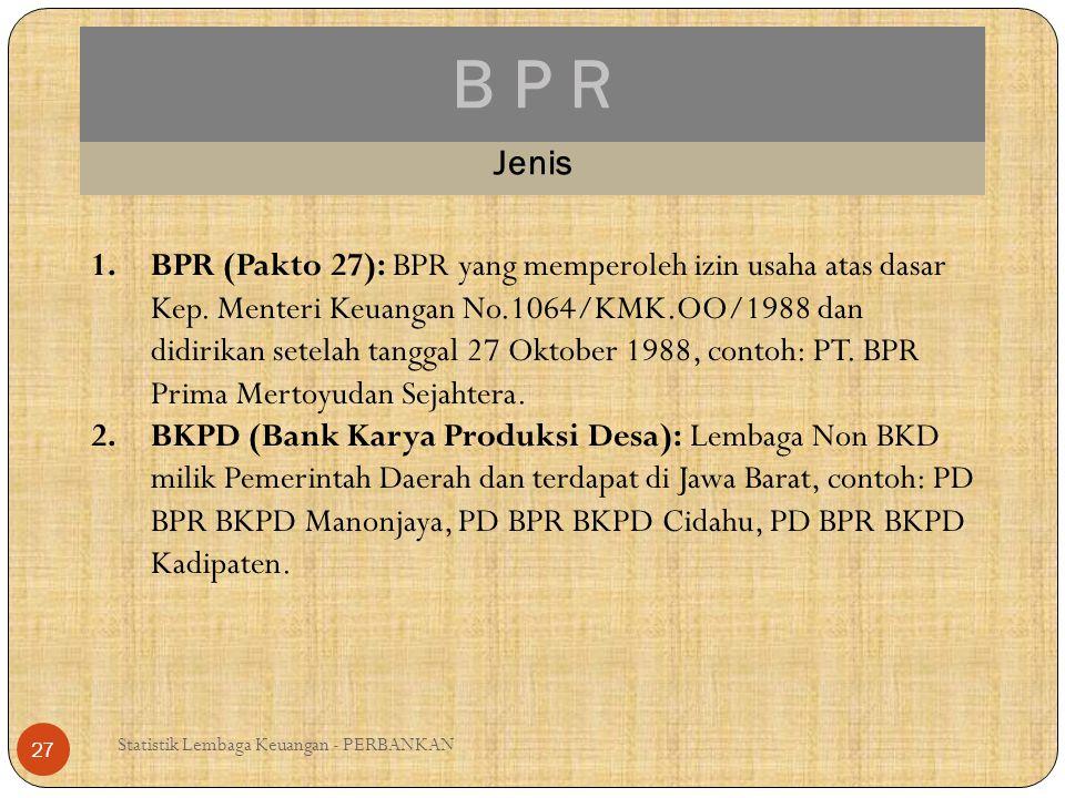 B P R Statistik Lembaga Keuangan - PERBANKAN 27 Jenis 1.BPR (Pakto 27): BPR yang memperoleh izin usaha atas dasar Kep. Menteri Keuangan No.1064/KMK.OO