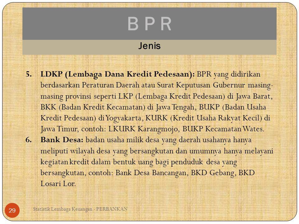 B P R Statistik Lembaga Keuangan - PERBANKAN 29 Jenis 5.LDKP (Lembaga Dana Kredit Pedesaan): BPR yang didirikan berdasarkan Peraturan Daerah atau Sura