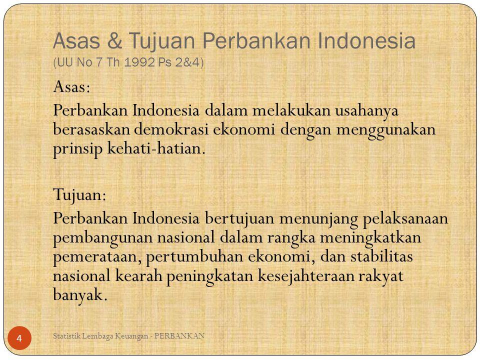 Asas & Tujuan Perbankan Indonesia (UU No 7 Th 1992 Ps 2&4) Statistik Lembaga Keuangan - PERBANKAN 4 Asas: Perbankan Indonesia dalam melakukan usahanya