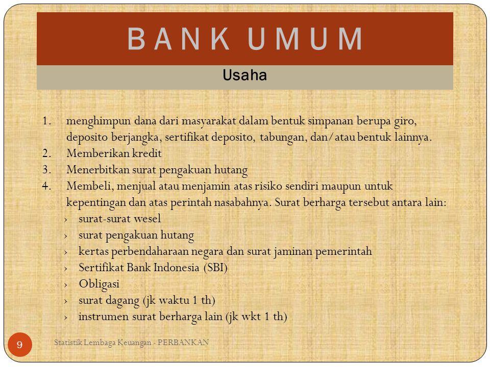 B A N K U M U M Statistik Lembaga Keuangan - PERBANKAN 9 Usaha 1.menghimpun dana dari masyarakat dalam bentuk simpanan berupa giro, deposito berjangka