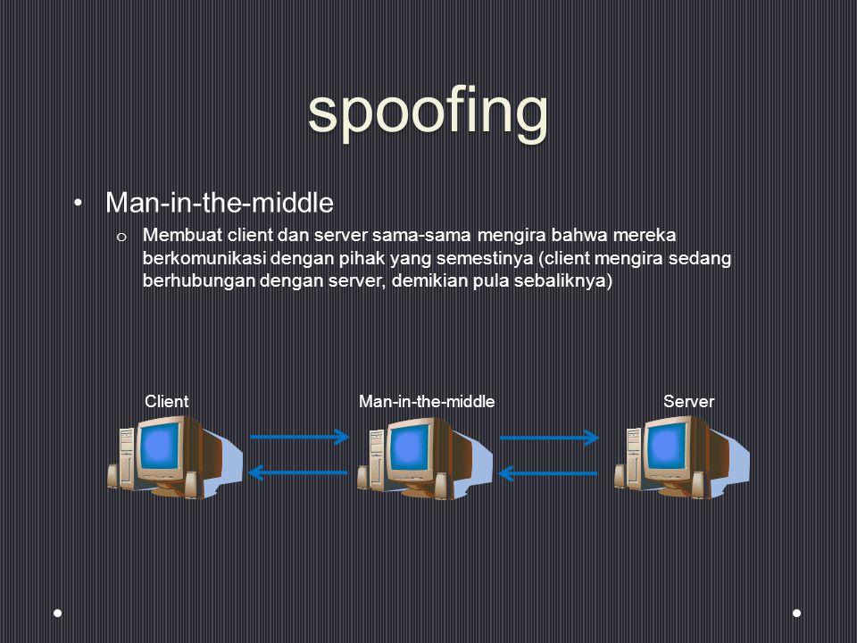 spoofing Man-in-the-middle o Membuat client dan server sama-sama mengira bahwa mereka berkomunikasi dengan pihak yang semestinya (client mengira sedang berhubungan dengan server, demikian pula sebaliknya) ClientMan-in-the-middleServer
