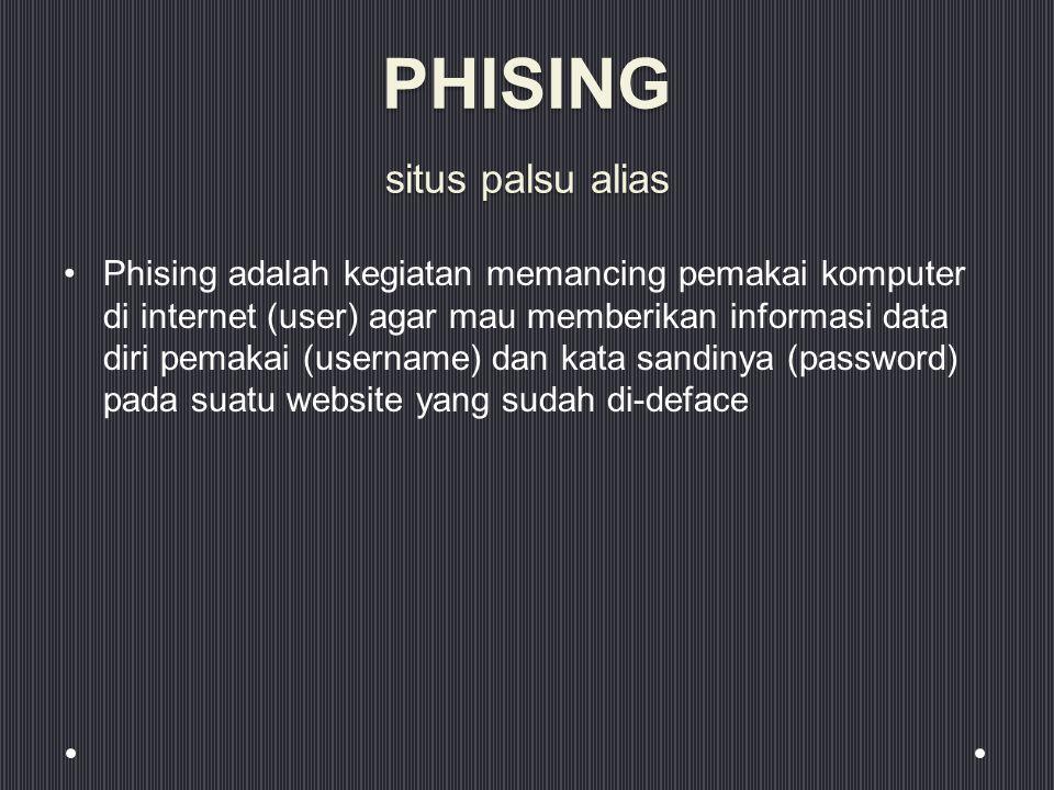 PHISING situs palsu alias Phising adalah kegiatan memancing pemakai komputer di internet (user) agar mau memberikan informasi data diri pemakai (username) dan kata sandinya (password) pada suatu website yang sudah di-deface