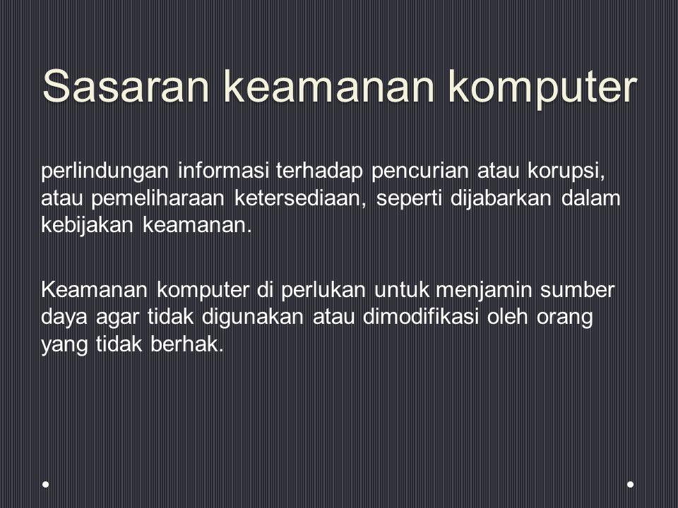 Sasaran keamanan komputer perlindungan informasi terhadap pencurian atau korupsi, atau pemeliharaan ketersediaan, seperti dijabarkan dalam kebijakan keamanan.