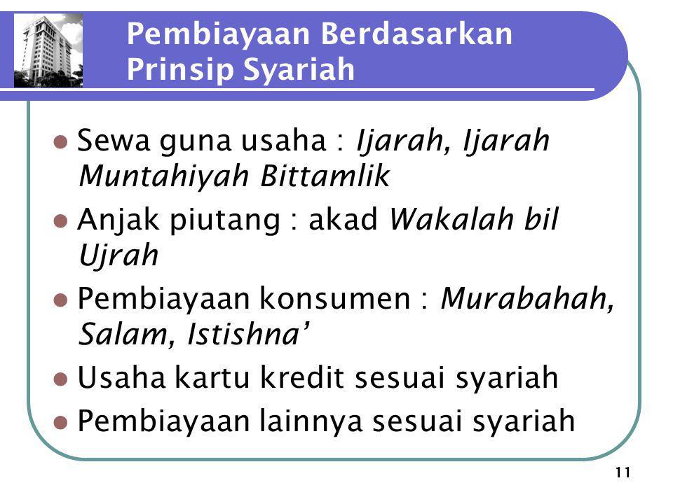 11 Pembiayaan Berdasarkan Prinsip Syariah Sewa guna usaha : Ijarah, Ijarah Muntahiyah Bittamlik Anjak piutang : akad Wakalah bil Ujrah Pembiayaan kons