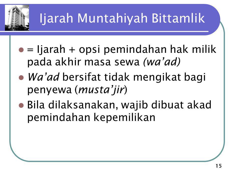 15 Ijarah Muntahiyah Bittamlik = Ijarah + opsi pemindahan hak milik pada akhir masa sewa (wa'ad) Wa'ad bersifat tidak mengikat bagi penyewa (musta'jir) Bila dilaksanakan, wajib dibuat akad pemindahan kepemilikan
