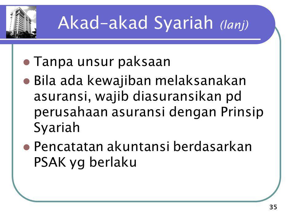 35 Akad–akad Syariah (lanj) Tanpa unsur paksaan Bila ada kewajiban melaksanakan asuransi, wajib diasuransikan pd perusahaan asuransi dengan Prinsip Sy