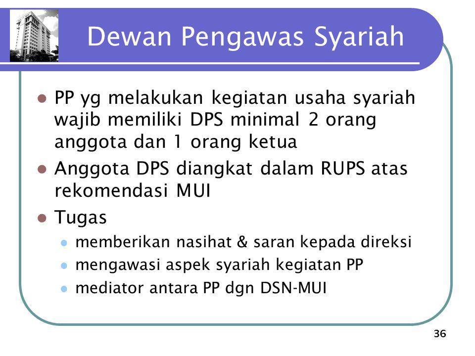 36 Dewan Pengawas Syariah PP yg melakukan kegiatan usaha syariah wajib memiliki DPS minimal 2 orang anggota dan 1 orang ketua Anggota DPS diangkat dal
