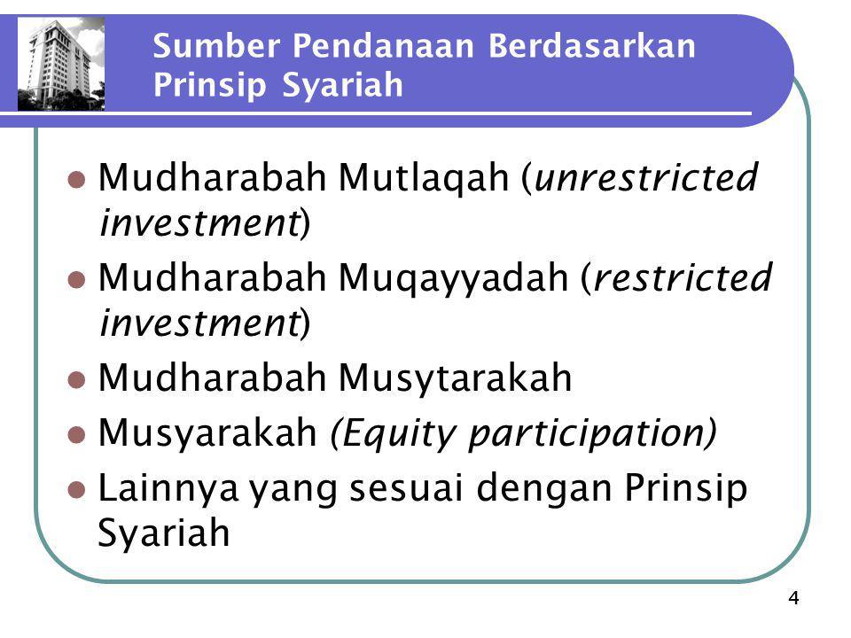 4 Sumber Pendanaan Berdasarkan Prinsip Syariah Mudharabah Mutlaqah (unrestricted investment) Mudharabah Muqayyadah (restricted investment) Mudharabah Musytarakah Musyarakah (Equity participation) Lainnya yang sesuai dengan Prinsip Syariah