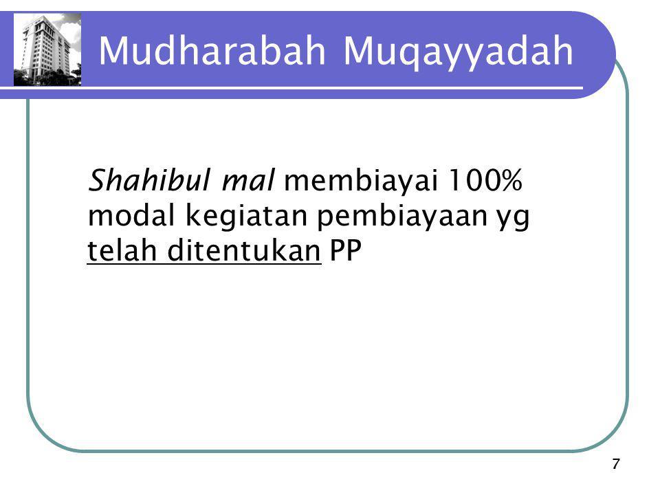 7 Mudharabah Muqayyadah Shahibul mal membiayai 100% modal kegiatan pembiayaan yg telah ditentukan PP
