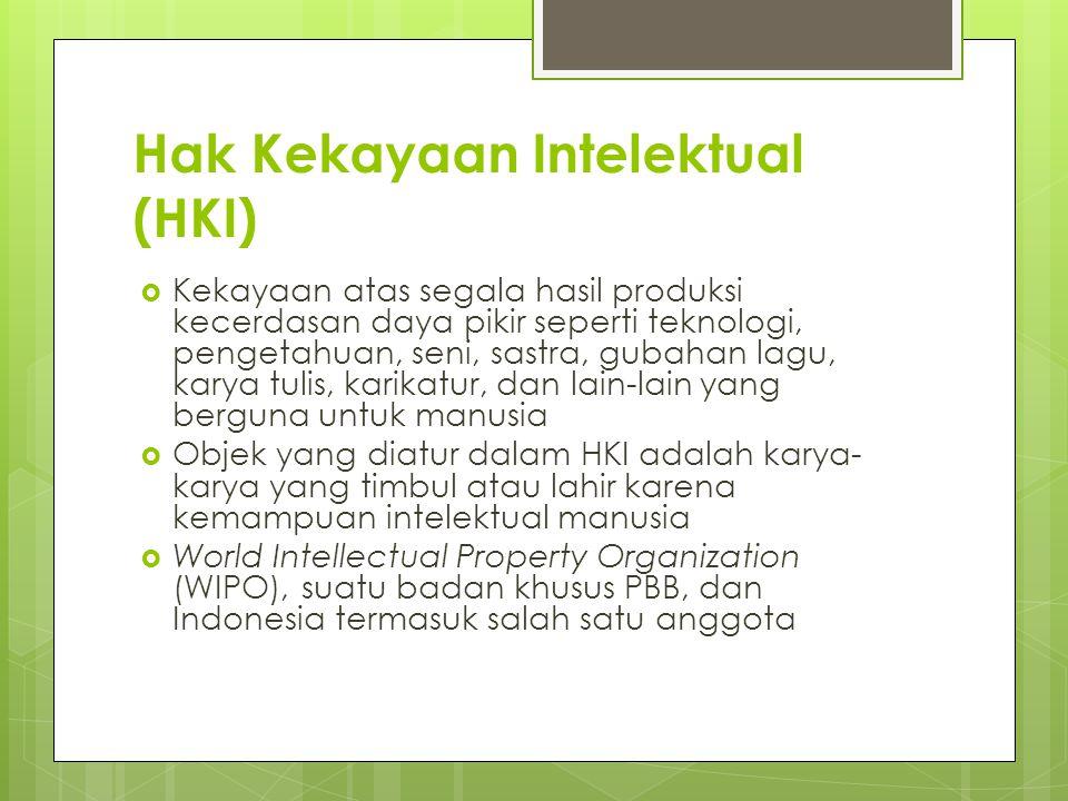 Hak Kekayaan Intelektual (HKI)  Kekayaan atas segala hasil produksi kecerdasan daya pikir seperti teknologi, pengetahuan, seni, sastra, gubahan lagu,