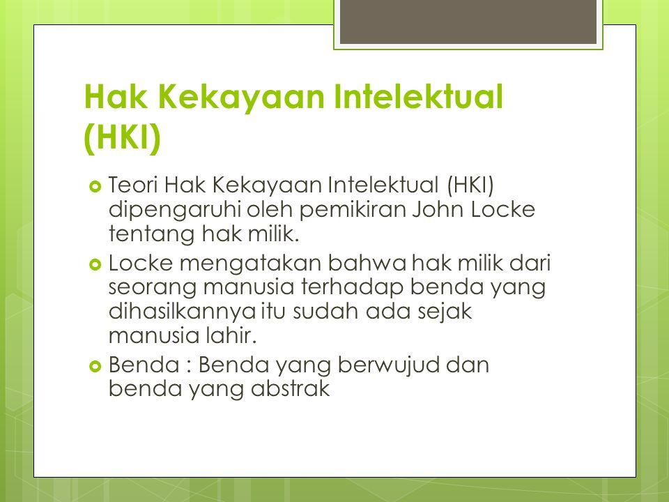 Hak Kekayaan Intelektual (HKI)  Teori Hak Kekayaan Intelektual (HKI) dipengaruhi oleh pemikiran John Locke tentang hak milik.  Locke mengatakan bahw