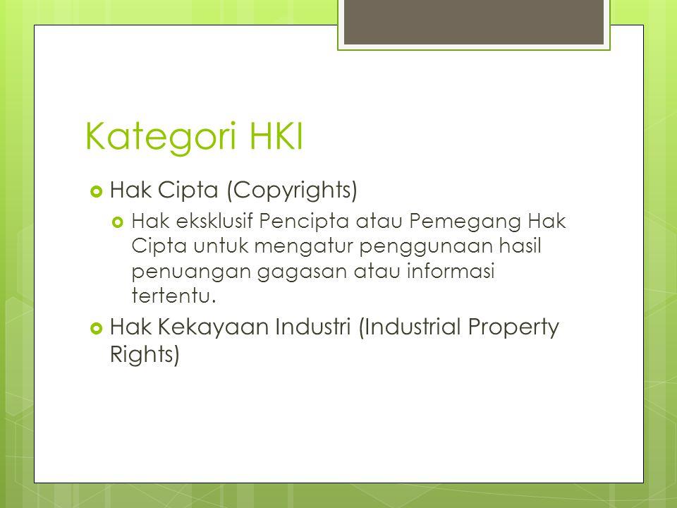 Kategori HKI  Hak Cipta (Copyrights)  Hak eksklusif Pencipta atau Pemegang Hak Cipta untuk mengatur penggunaan hasil penuangan gagasan atau informas