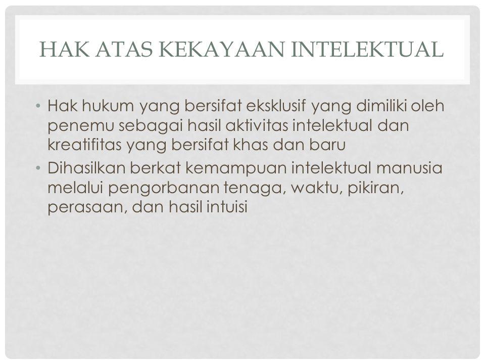 HAK ATAS KEKAYAAN INTELEKTUAL Hak hukum yang bersifat eksklusif yang dimiliki oleh penemu sebagai hasil aktivitas intelektual dan kreatifitas yang ber