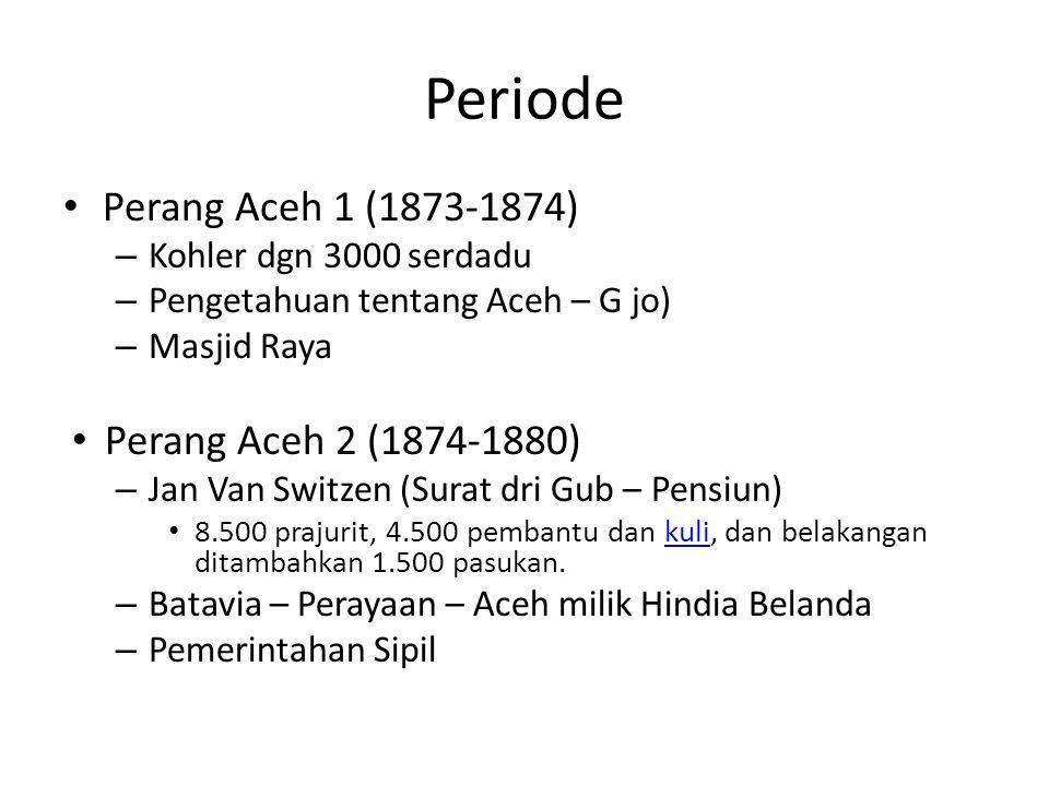 Periode Perang Aceh 1 (1873-1874) – Kohler dgn 3000 serdadu – Pengetahuan tentang Aceh – G jo) – Masjid Raya Perang Aceh 2 (1874-1880) – Jan Van Switz