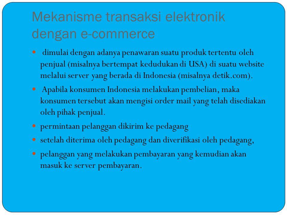 Mekanisme transaksi elektronik dengan e-commerce dimulai dengan adanya penawaran suatu produk tertentu oleh penjual (misalnya bertempat kedudukan di USA) di suatu website melalui server yang berada di Indonesia (misalnya detik.com).