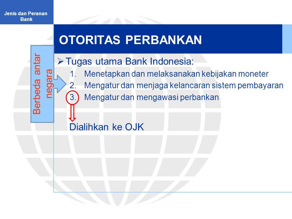 OTORITAS PERBANKAN  Tugas utama Bank Indonesia: 1.Menetapkan dan melaksanakan kebijakan moneter 2.Mengatur dan menjaga kelancaran sistem pembayaran 3.Mengatur dan mengawasi perbankan Jenis dan Peranan Bank Berbeda antar negara Dialihkan ke OJK
