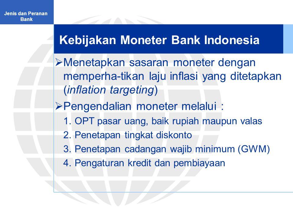 Kebijakan Moneter Bank Indonesia Jenis dan Peranan Bank  Menetapkan sasaran moneter dengan memperha-tikan laju inflasi yang ditetapkan (inflation targeting)  Pengendalian moneter melalui : 1.OPT pasar uang, baik rupiah maupun valas 2.Penetapan tingkat diskonto 3.Penetapan cadangan wajib minimum (GWM) 4.Pengaturan kredit dan pembiayaan