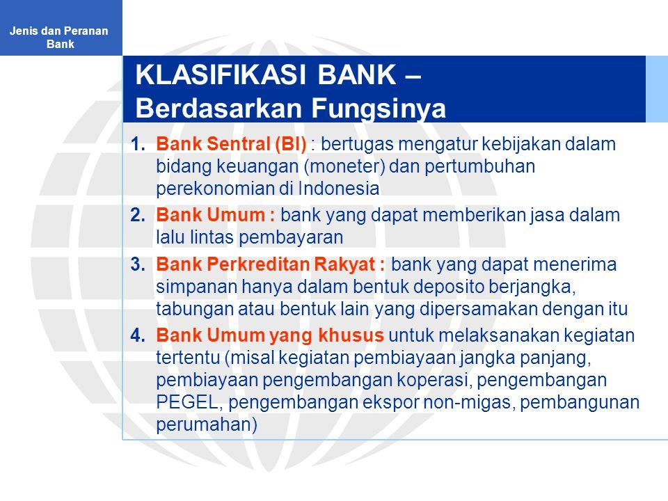 KLASIFIKASI BANK – Berdasarkan Fungsinya 1.Bank Sentral (BI) : bertugas mengatur kebijakan dalam bidang keuangan (moneter) dan pertumbuhan perekonomian di Indonesia 2.Bank Umum : bank yang dapat memberikan jasa dalam lalu lintas pembayaran 3.Bank Perkreditan Rakyat : bank yang dapat menerima simpanan hanya dalam bentuk deposito berjangka, tabungan atau bentuk lain yang dipersamakan dengan itu 4.Bank Umum yang khusus untuk melaksanakan kegiatan tertentu (misal kegiatan pembiayaan jangka panjang, pembiayaan pengembangan koperasi, pengembangan PEGEL, pengembangan ekspor non-migas, pembangunan perumahan) Jenis dan Peranan Bank