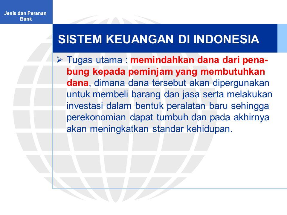SISTEM KEUANGAN DI INDONESIA  Tugas utama : memindahkan dana dari pena- bung kepada peminjam yang membutuhkan dana, dimana dana tersebut akan dipergunakan untuk membeli barang dan jasa serta melakukan investasi dalam bentuk peralatan baru sehingga perekonomian dapat tumbuh dan pada akhirnya akan meningkatkan standar kehidupan.