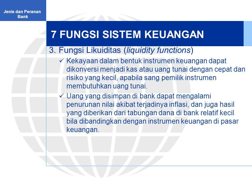 7 FUNGSI SISTEM KEUANGAN 4.Fungsi Kredit (credit functions) Sistem keuangan menyediakan fasilitas kredit untuk membiayai kebutuhan konsumsi dan investasi.