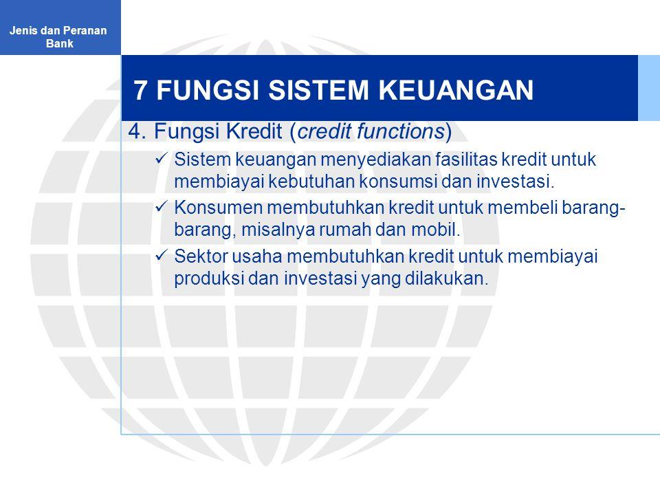 7 FUNGSI SISTEM KEUANGAN 5.Fungsi Pembayaran (payment functions) Sistem keuangan menyediakan instrumen untuk melakukan mekanisme pembayaran atas transaksi barang dan jasa.