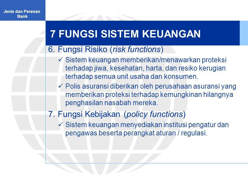 7 FUNGSI SISTEM KEUANGAN 6.Fungsi Risiko (risk functions) Sistem keuangan memberikan/menawarkan proteksi terhadap jiwa, kesehatan, harta, dan resiko kerugian terhadap semua unit usaha dan konsumen.