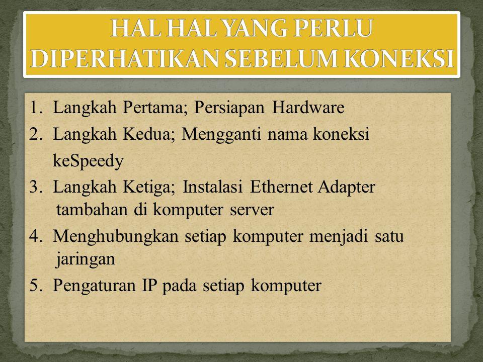 Untuk komputer server :IP address : 192.168.0.1Subnet mask : 255.255.255.0Gatewaty : 192.168.0.1Preffered DNS Server dan Alternate DNS Server diisi dengan DNS yang diberi dari Telkom (bisa juga dikosongkan).