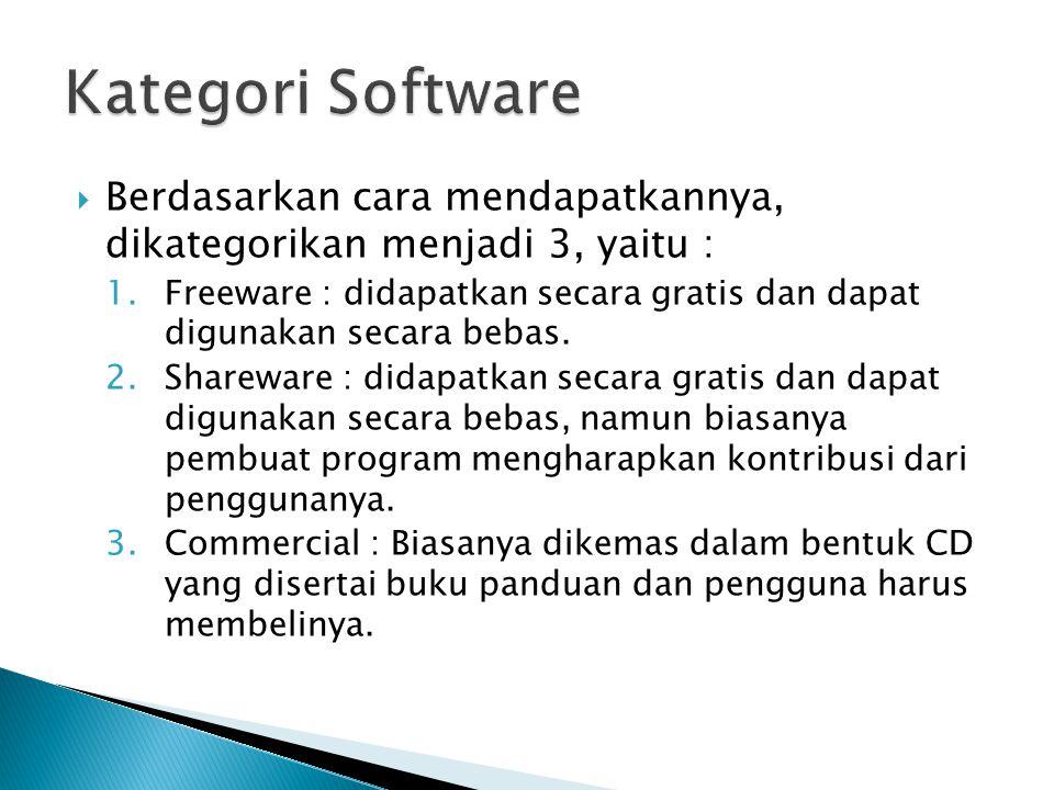  Berdasarkan cara mendapatkannya, dikategorikan menjadi 3, yaitu : 1.Freeware : didapatkan secara gratis dan dapat digunakan secara bebas.