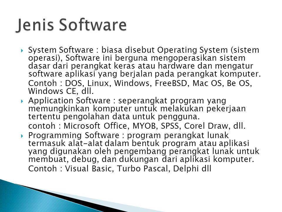  System Software : biasa disebut Operating System (sistem operasi), Software ini berguna mengoperasikan sistem dasar dari perangkat keras atau hardware dan mengatur software aplikasi yang berjalan pada perangkat komputer.