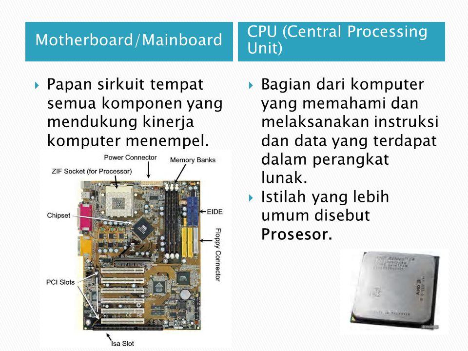 Motherboard/Mainboard CPU (Central Processing Unit)  Papan sirkuit tempat semua komponen yang mendukung kinerja komputer menempel.