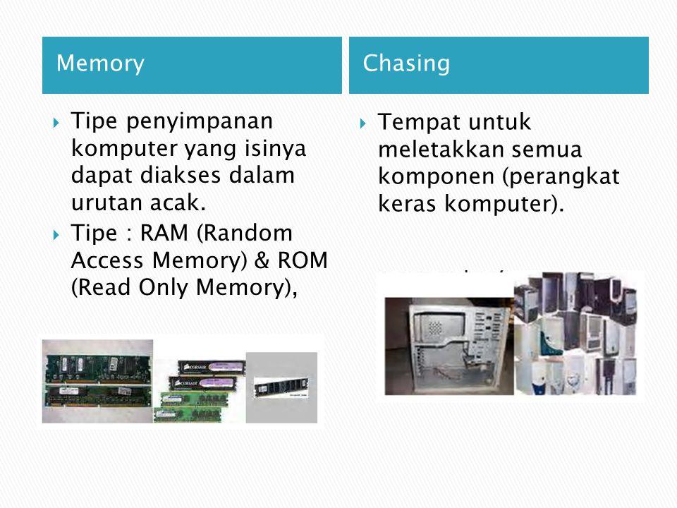 MemoryChasing  Tipe penyimpanan komputer yang isinya dapat diakses dalam urutan acak.