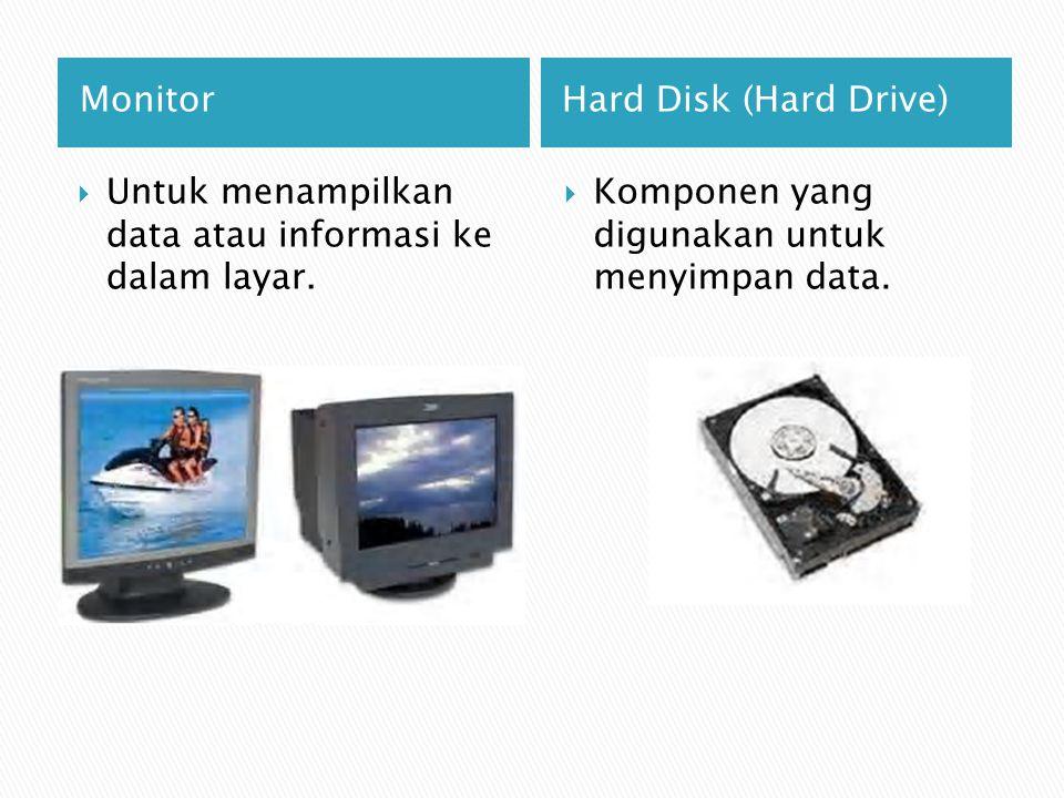 CD/DVD ROM VGA (Video Graphics Adapter)  Berfungsi untuk membaca data/informasi yang terkandung dalam keping CD/DVD.
