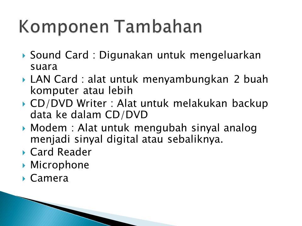  Sound Card : Digunakan untuk mengeluarkan suara  LAN Card : alat untuk menyambungkan 2 buah komputer atau lebih  CD/DVD Writer : Alat untuk melakukan backup data ke dalam CD/DVD  Modem : Alat untuk mengubah sinyal analog menjadi sinyal digital atau sebaliknya.