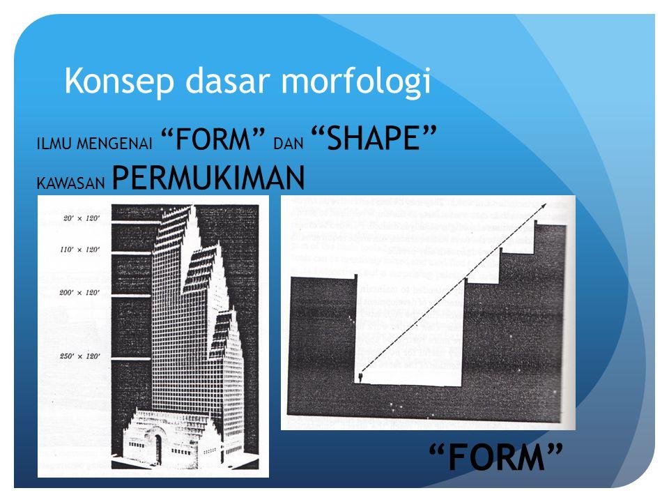 Konsep dasar morfologi ILMU MENGENAI FORM DAN SHAPE KAWASAN PERMUKIMAN FORM
