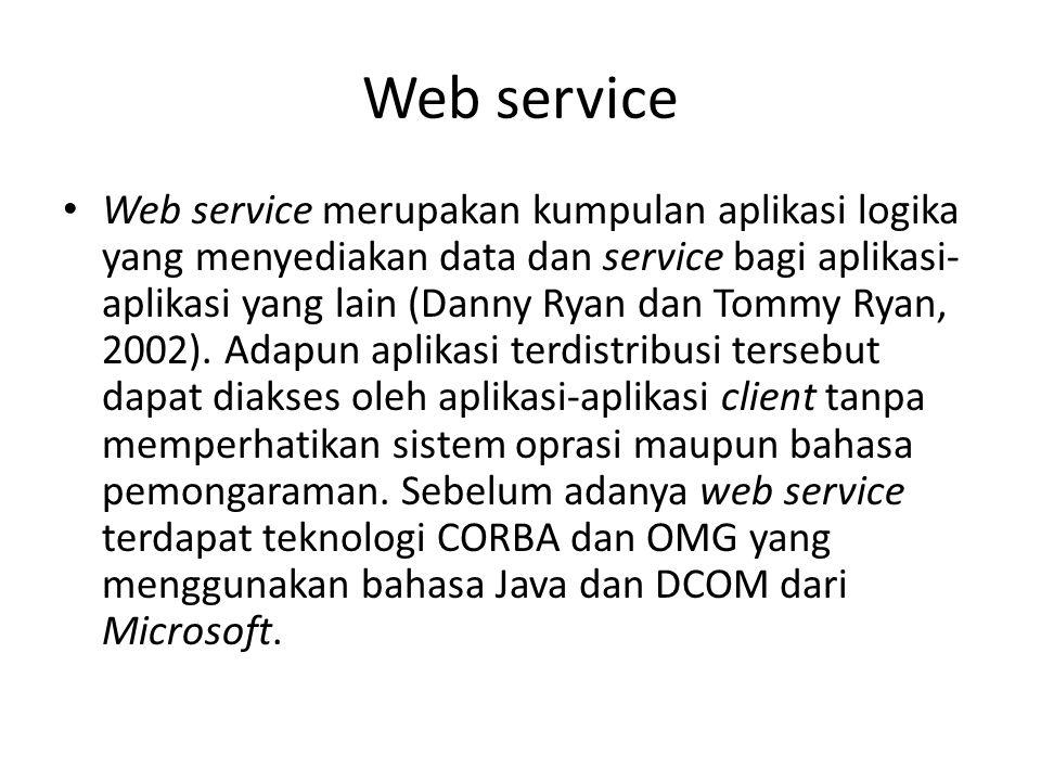 Web service Web service merupakan kumpulan aplikasi logika yang menyediakan data dan service bagi aplikasi- aplikasi yang lain (Danny Ryan dan Tommy R