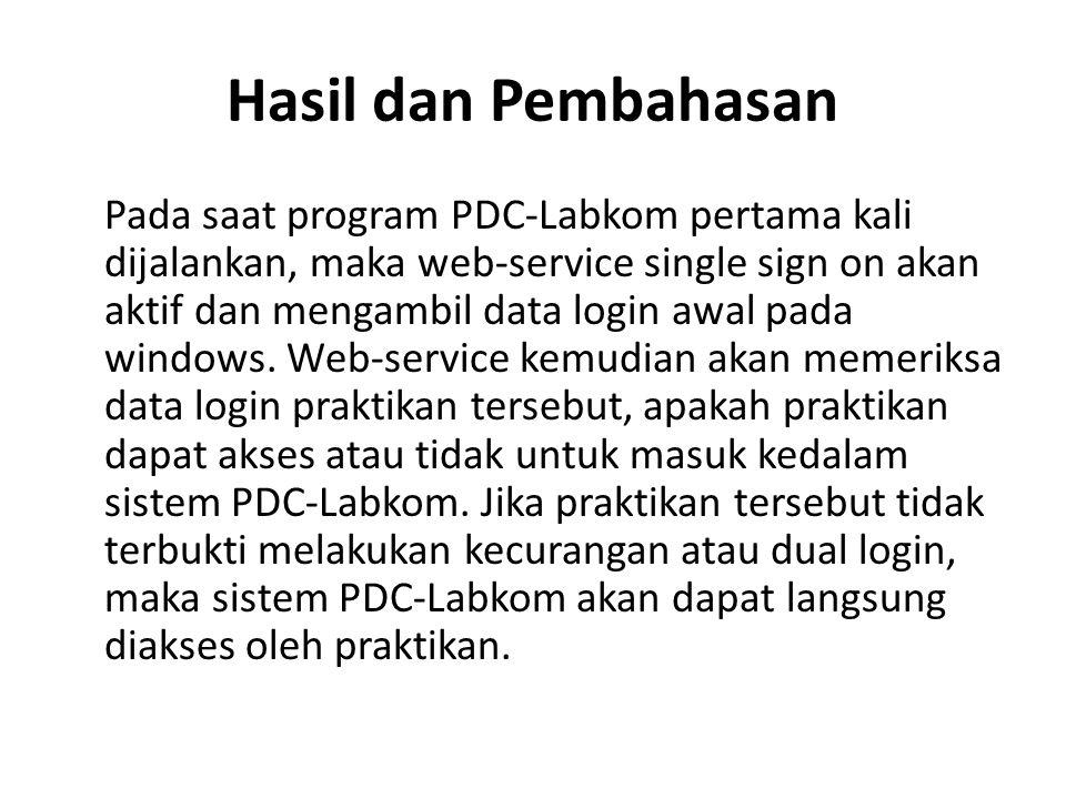 Hasil dan Pembahasan Pada saat program PDC-Labkom pertama kali dijalankan, maka web-service single sign on akan aktif dan mengambil data login awal pa
