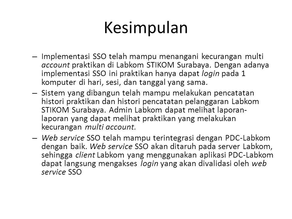 Kesimpulan – Implementasi SSO telah mampu menangani kecurangan multi account praktikan di Labkom STIKOM Surabaya. Dengan adanya implementasi SSO ini p