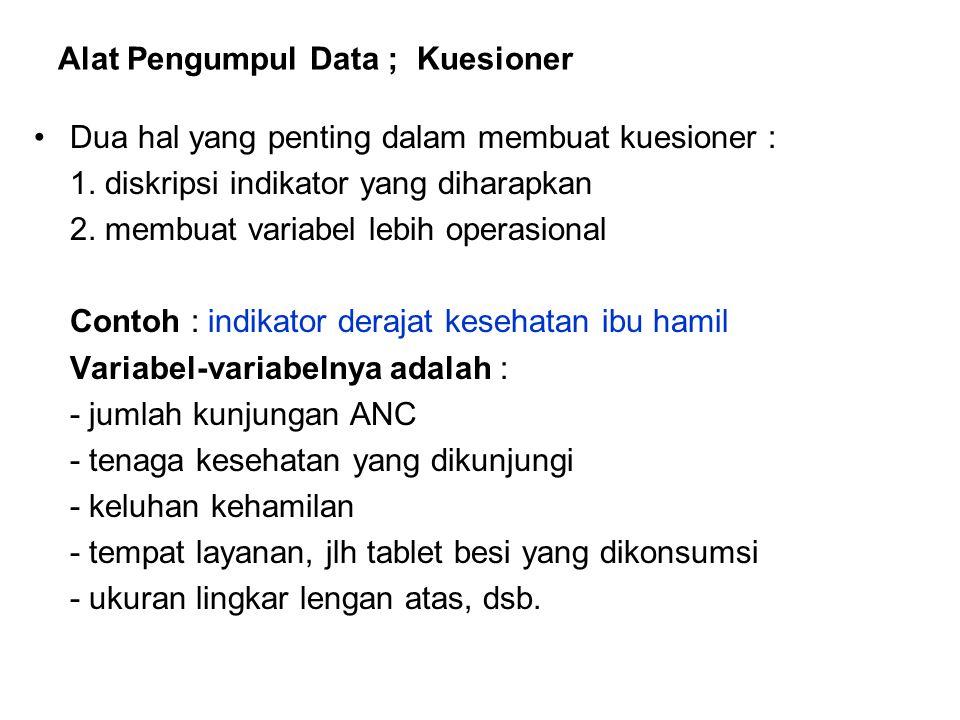 Alat Pengumpul Data ; Kuesioner Dua hal yang penting dalam membuat kuesioner : 1. diskripsi indikator yang diharapkan 2. membuat variabel lebih operas