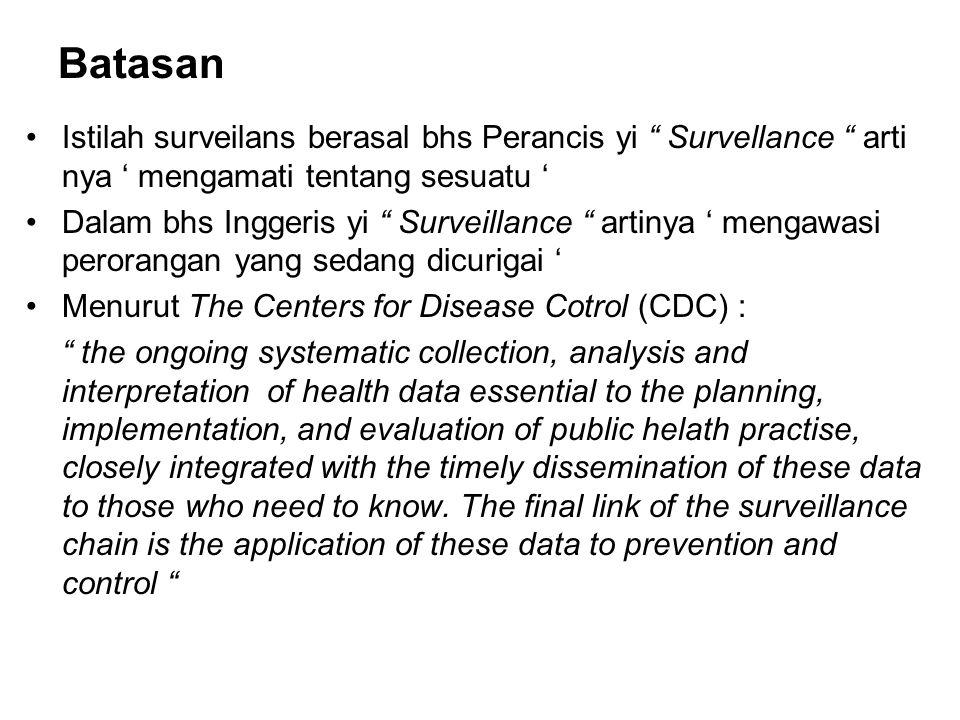 "Batasan Istilah surveilans berasal bhs Perancis yi "" Survellance "" arti nya ' mengamati tentang sesuatu ' Dalam bhs Inggeris yi "" Surveillance "" artin"