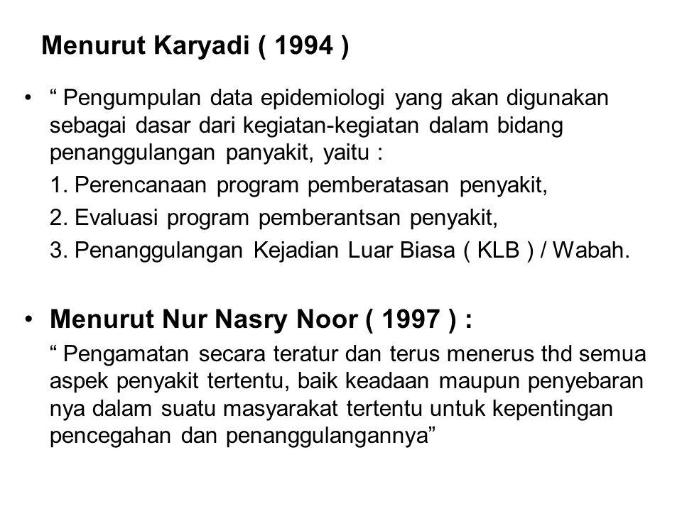 """Menurut Karyadi ( 1994 ) """" Pengumpulan data epidemiologi yang akan digunakan sebagai dasar dari kegiatan-kegiatan dalam bidang penanggulangan panyakit"""