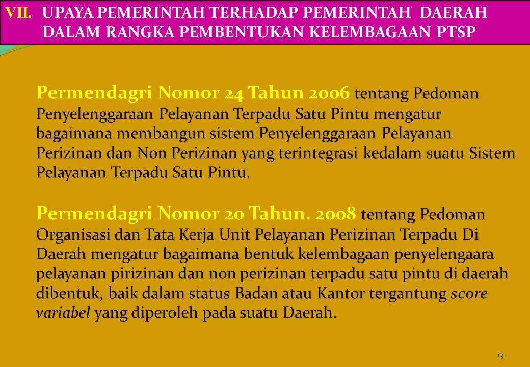 Permendagri Nomor 24 Tahun 2006 tentang Pedoman Penyelenggaraan Pelayanan Terpadu Satu Pintu mengatur bagaimana membangun sistem Penyelenggaraan Pelay