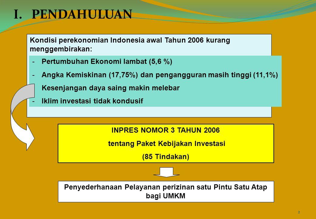 I. PENDAHULUAN Kondisi perekonomian Indonesia awal Tahun 2006 kurang menggembirakan: -Pertumbuhan Ekonomi lambat (5,6 %) -Angka Kemiskinan (17,75%) da