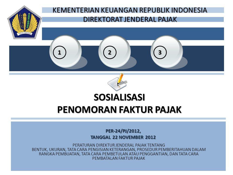 PER-24/PJ/2012, TANGGAL 22 NOVEMBER 2012 32 1 SOSIALISASI PENOMORAN FAKTUR PAJAK PERATURAN DIREKTUR JENDERAL PAJAK TENTANG BENTUK, UKURAN, TATA CARA P
