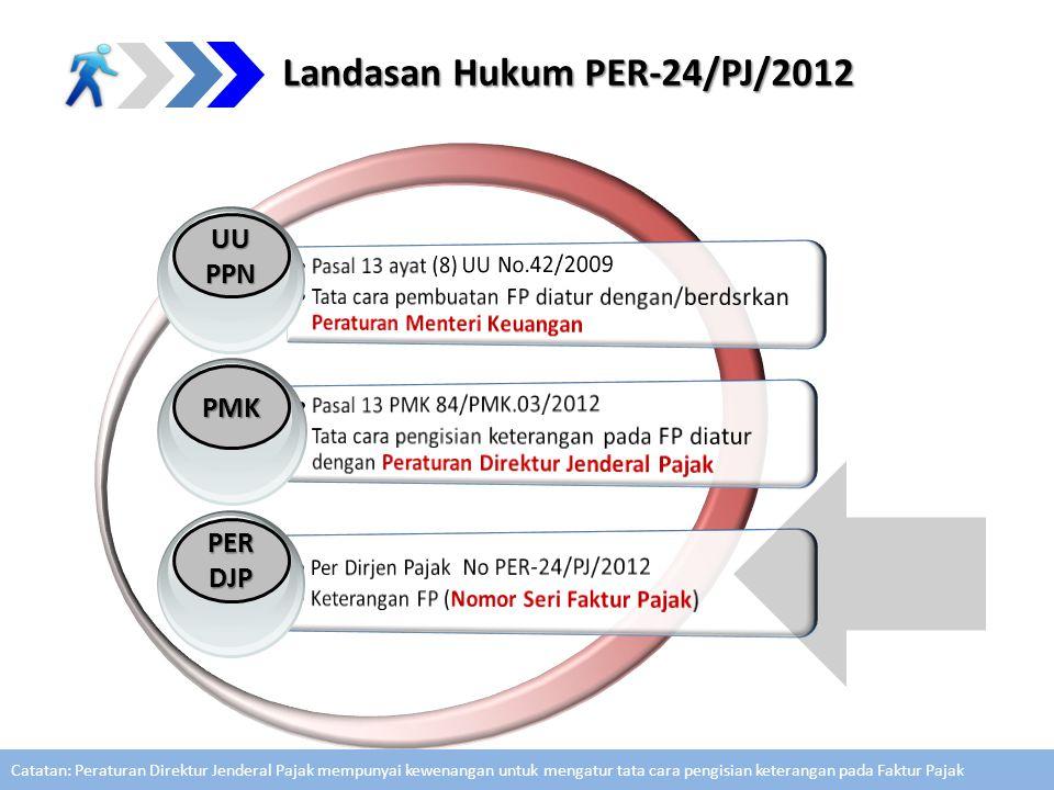 Landasan Hukum PER-24/PJ/2012 PMK PERDJP UU PPN Catatan: Peraturan Direktur Jenderal Pajak mempunyai kewenangan untuk mengatur tata cara pengisian ket