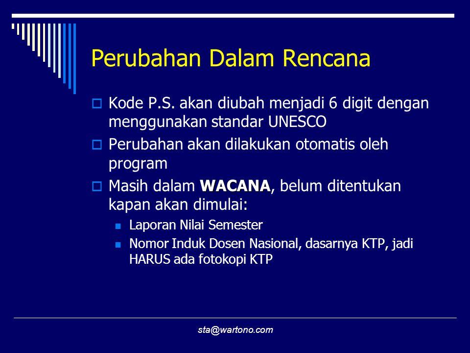 sta@wartono.com Perubahan Dalam Rencana  Kode P.S. akan diubah menjadi 6 digit dengan menggunakan standar UNESCO  Perubahan akan dilakukan otomatis