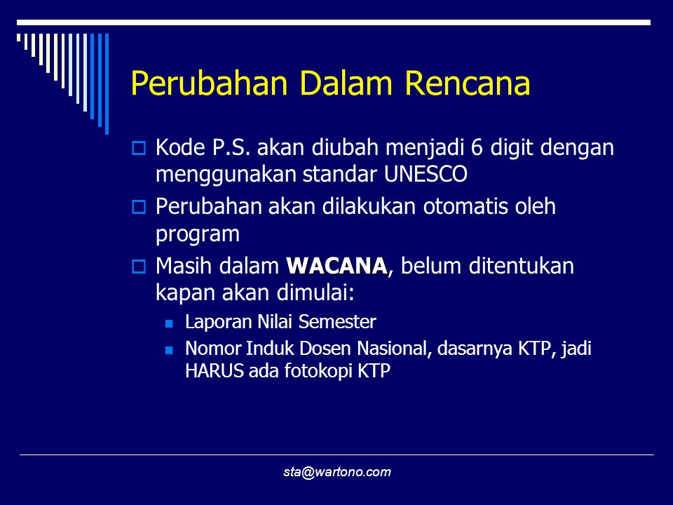 sta@wartono.com Perubahan Dalam Rencana  Kode P.S.