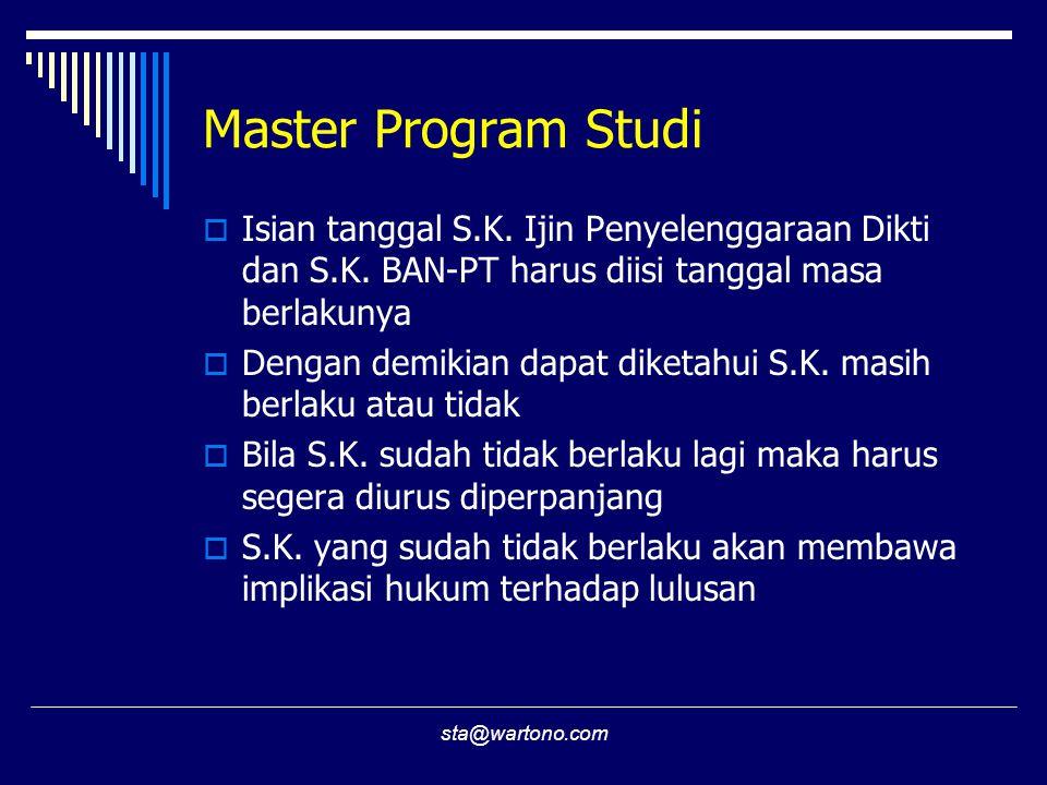 sta@wartono.com Master Program Studi  Isian tanggal S.K. Ijin Penyelenggaraan Dikti dan S.K. BAN-PT harus diisi tanggal masa berlakunya  Dengan demi
