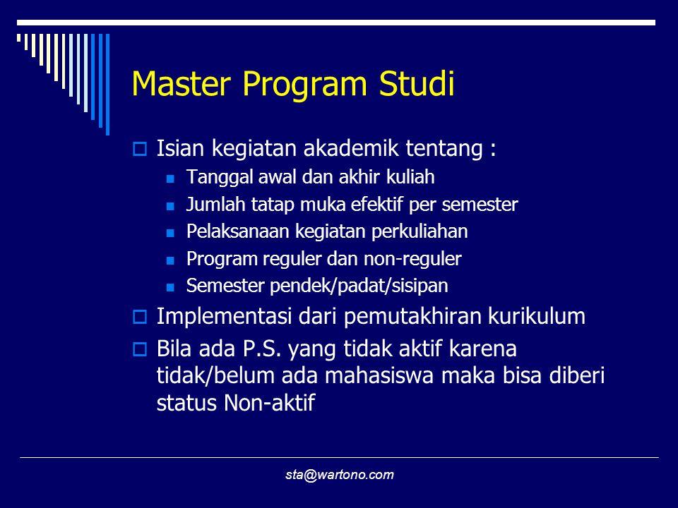 sta@wartono.com Master Program Studi  Isian kegiatan akademik tentang : Tanggal awal dan akhir kuliah Jumlah tatap muka efektif per semester Pelaksan
