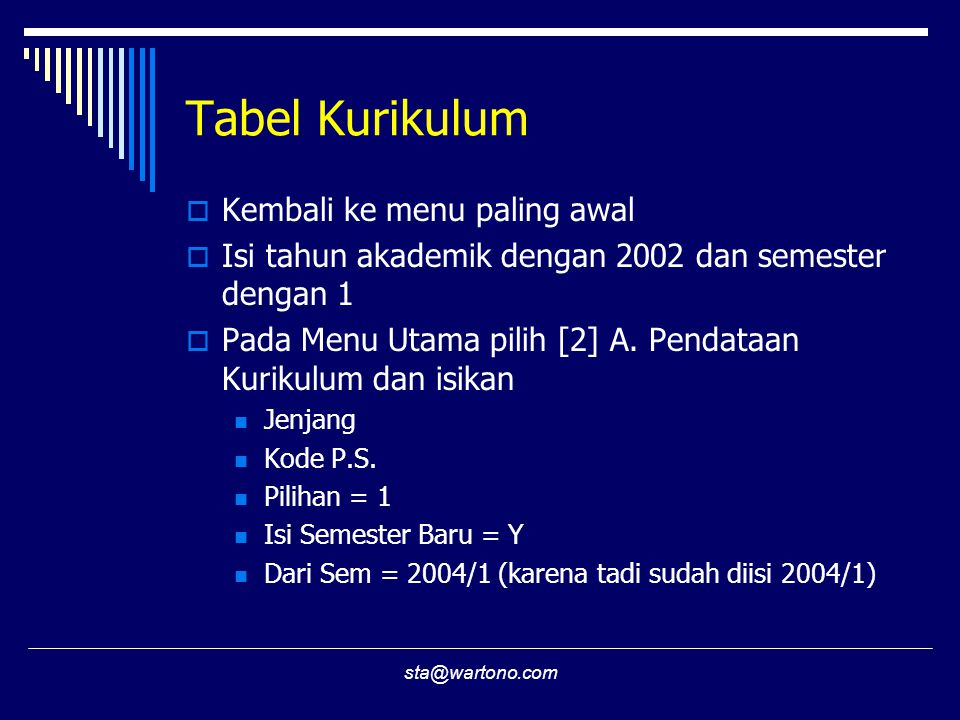 sta@wartono.com Tabel Kurikulum  Kembali ke menu paling awal  Isi tahun akademik dengan 2002 dan semester dengan 1  Pada Menu Utama pilih [2] A.